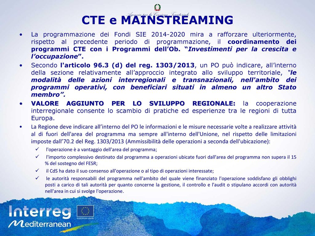 CTE e MAINSTREAMING
