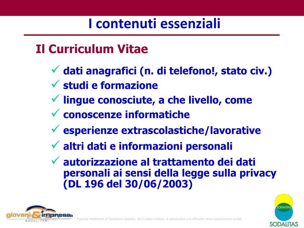 Il Curriculum Vitae Ppt Scaricare
