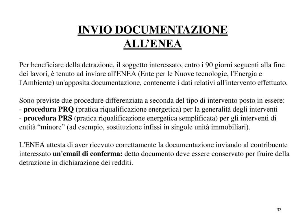 INVIO DOCUMENTAZIONE ALLu0027ENEA