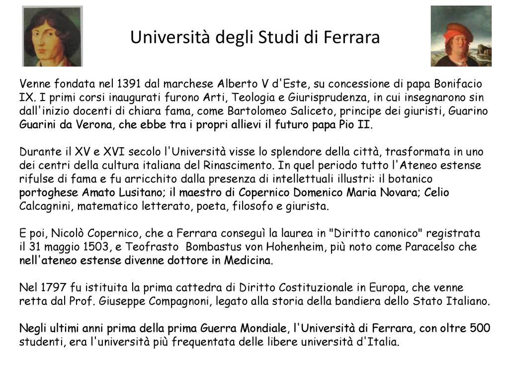 Universita Degli Studi Di Ferrara Ppt Scaricare