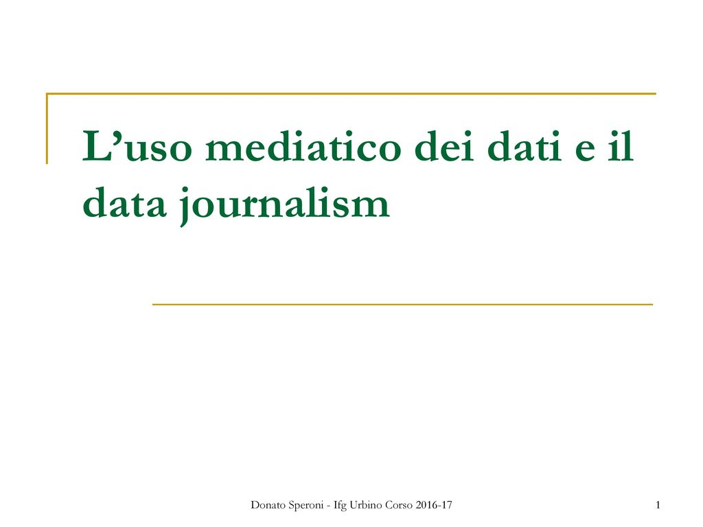 L'uso mediatico dei dati e il data journalism