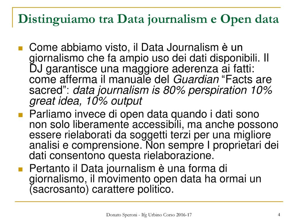 Distinguiamo tra Data journalism e Open data