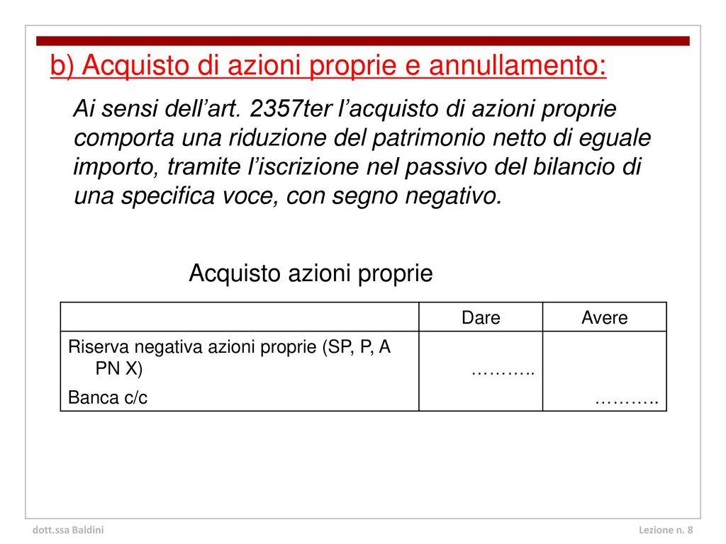 06499089f7 b) Acquisto di azioni proprie e annullamento: