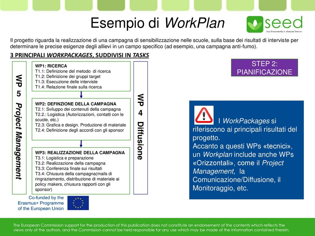 Esempio di WorkPlan WP 5 Project Management WP 4 Diffusione STEP 2: