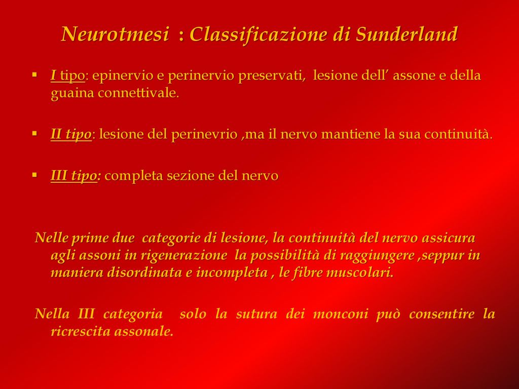 Neurotmesi : Classificazione di Sunderland