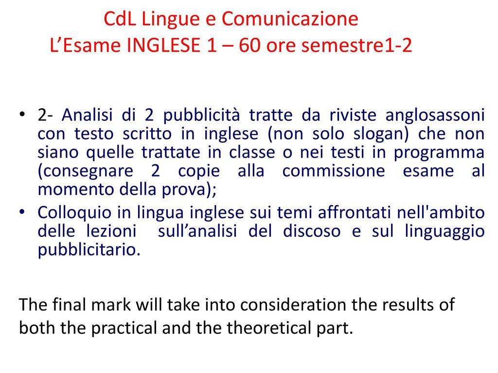 Cdl Lingue E Comunicazione Lesame Inglese 1 60 Ore Semestre Ppt