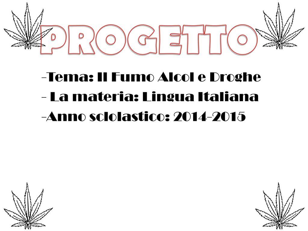 Progetto Tema Il Fumo Alcol E Droghe La Materia Lingua Italiana Ppt Scaricare