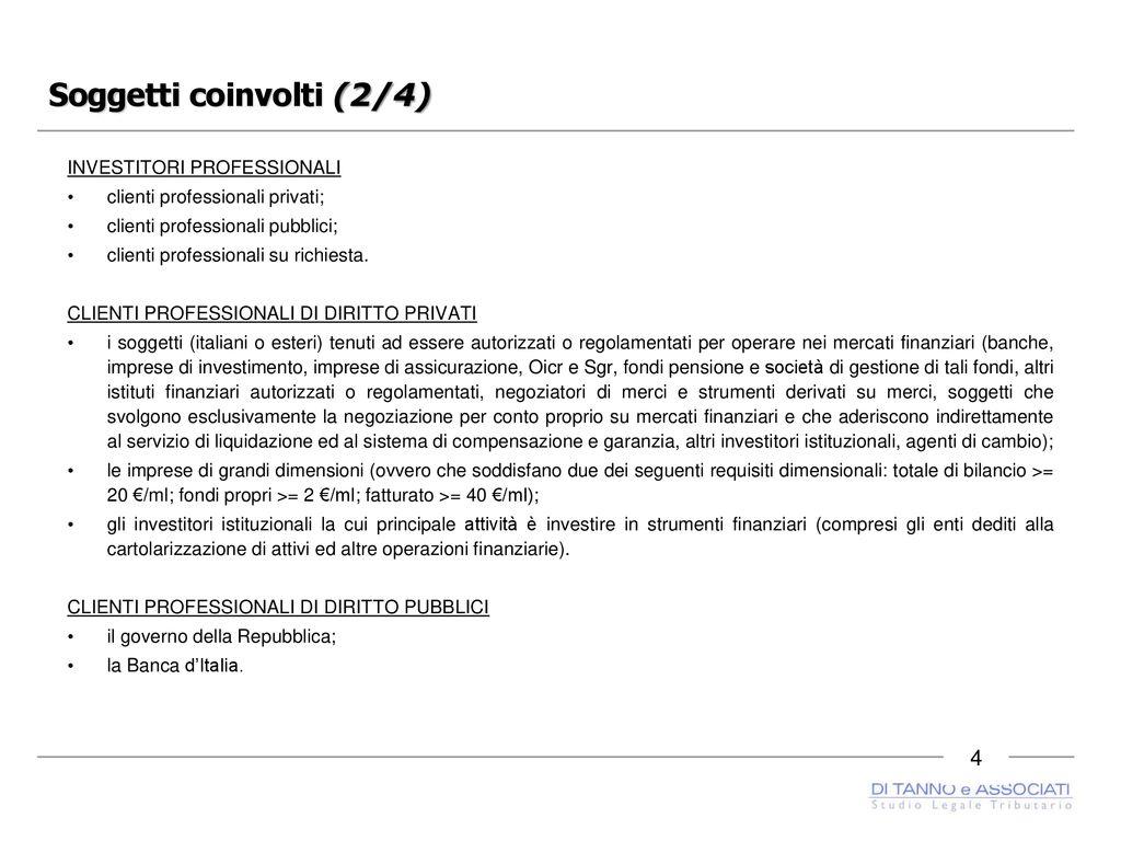 Definizione e individuazione dei clienti professionali pubblici (D.Lgs. 236/2011)
