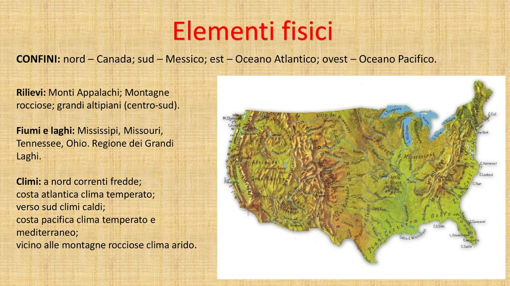 Cartina Fiumi Usa.Gli Stati Uniti Ppt Scaricare