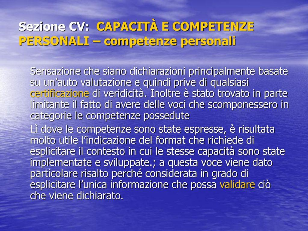 sezione cv capacit e competenze personali competenze personali