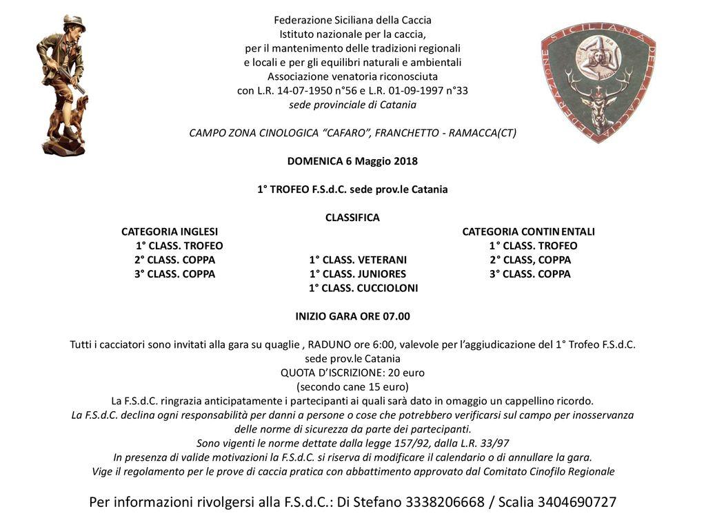 Federazione Siciliana Della Caccia Calendario Venatorio.Federazione Siciliana Della Caccia Istituto Nazionale Per La