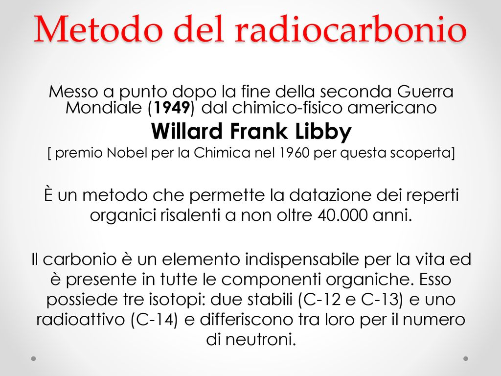Willard Frank Libby datazione radiocarbonio