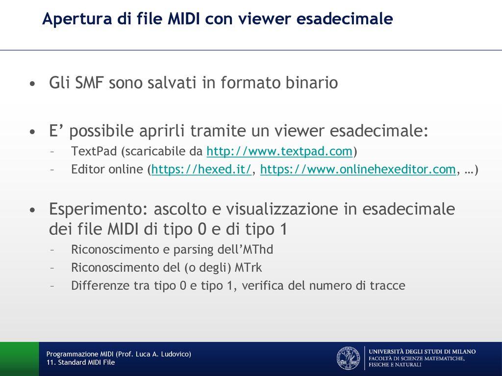 Standard MIDI File: eventi MTrk - ppt scaricare
