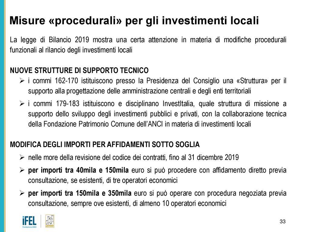 efe8e19cda Misure «procedurali» per gli investimenti locali. 34 Riepilogo contributi  erariali per investimenti locali. Per l'anno 2019 comma 853 legge di  bilancio ...
