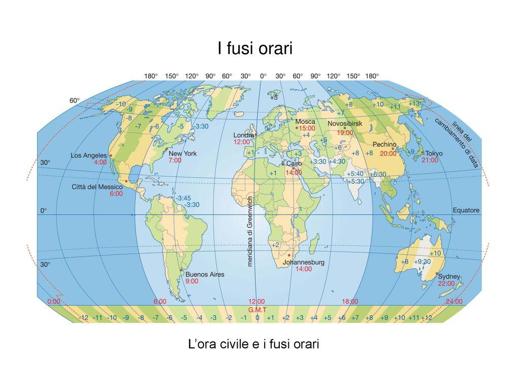 Cartina Fusi Orari Mondo.Ora Nel Mondo Fusi Orari