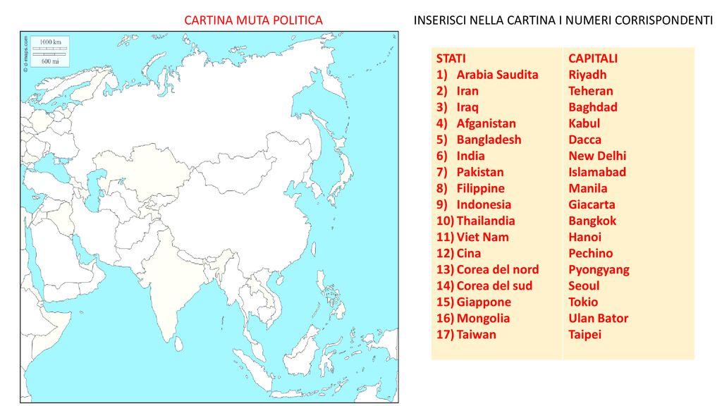 Cartina Muta Del Giappone.Asia Il Piu Grande Continente Ppt Scaricare