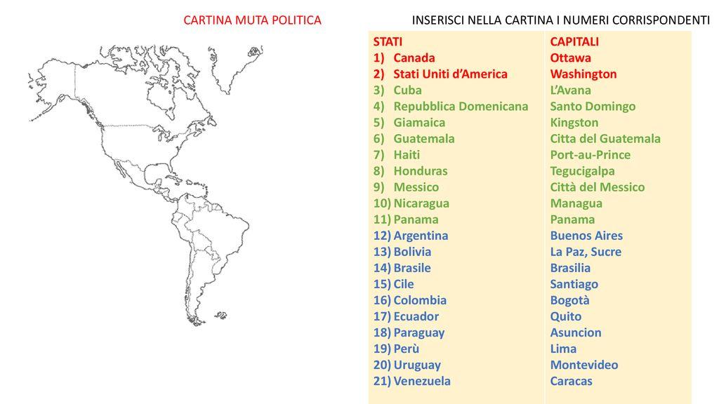 Cartina Muta Cuba.America E Formato Da Due Continenti L America Del Nord E L America Del Sud Detti Anche Americhe L America Settentrionale E L America Meridionale Sono Ppt Scaricare