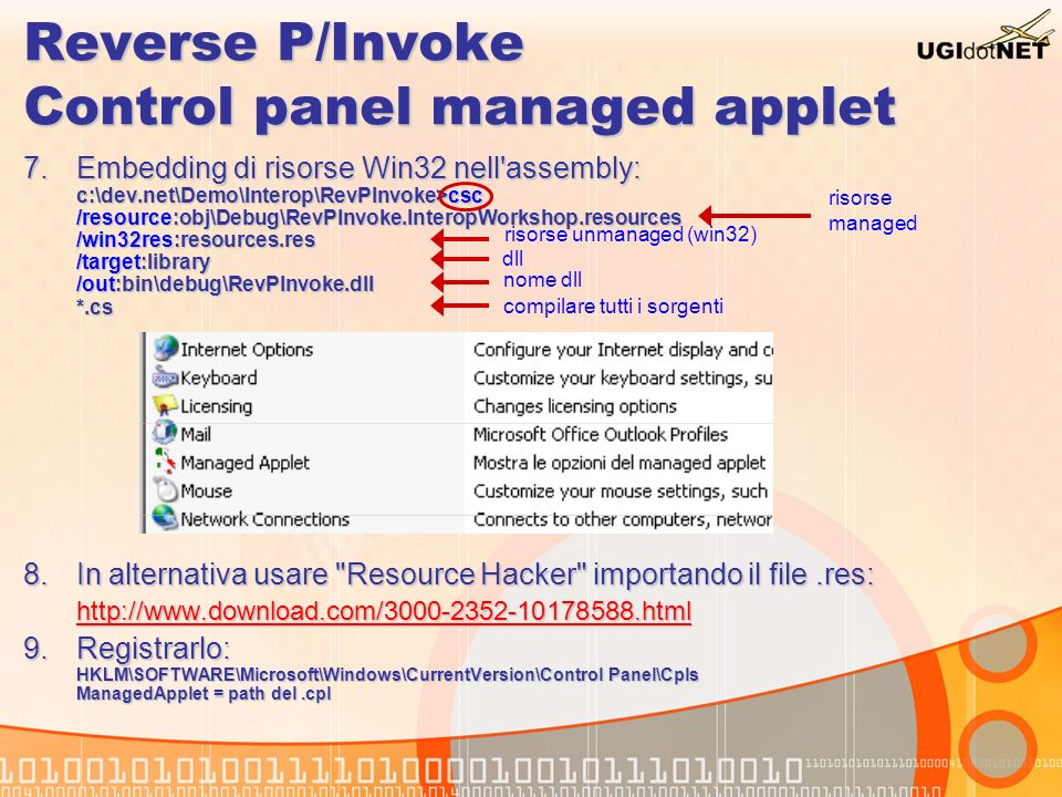 Reverse P/Invoke Control panel managed applet