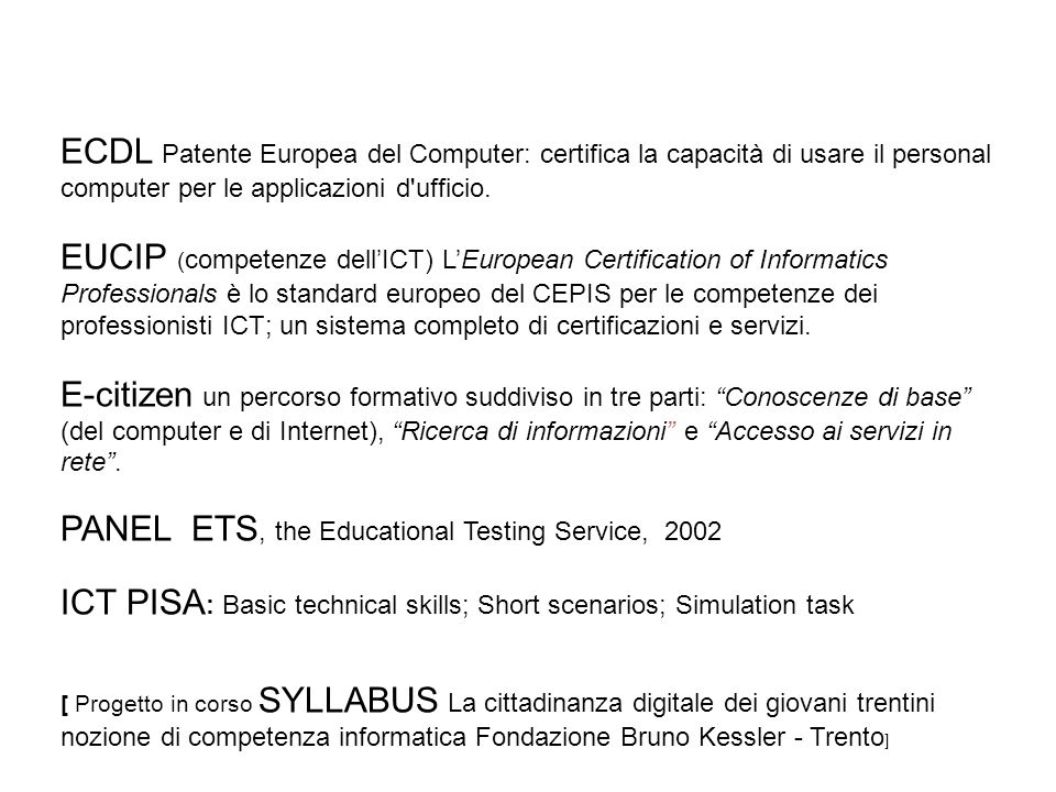 PANEL ETS, the Educational Testing Service, 2002