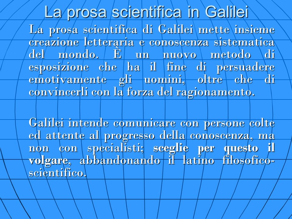 La prosa scientifica in Galilei