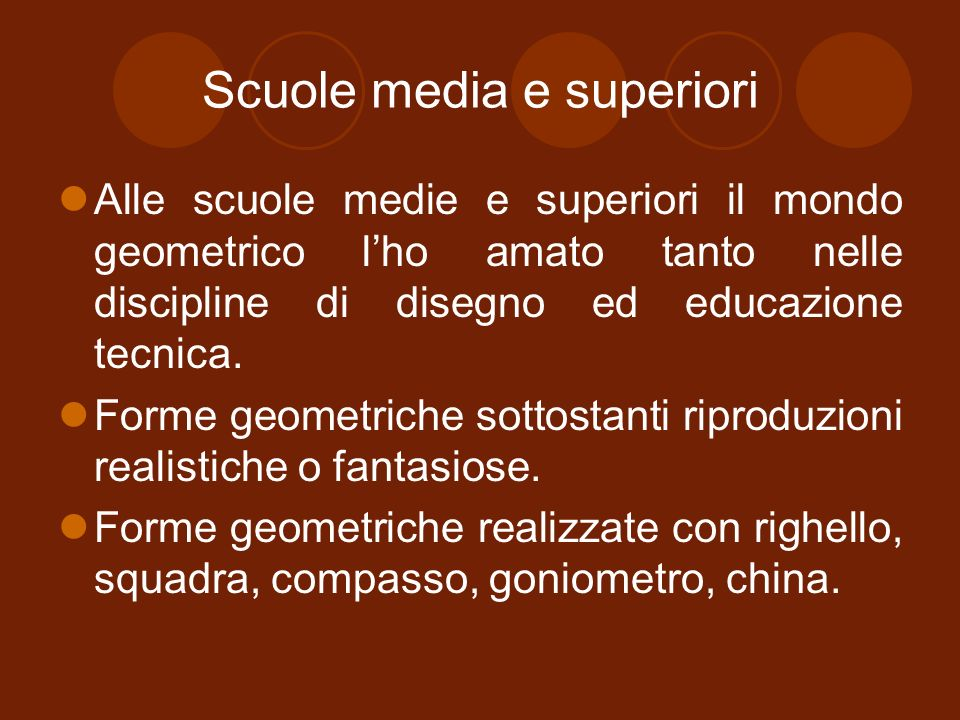 Scuole media e superiori