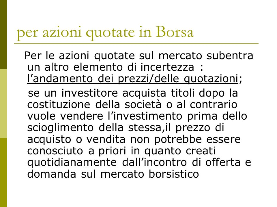 per azioni quotate in Borsa
