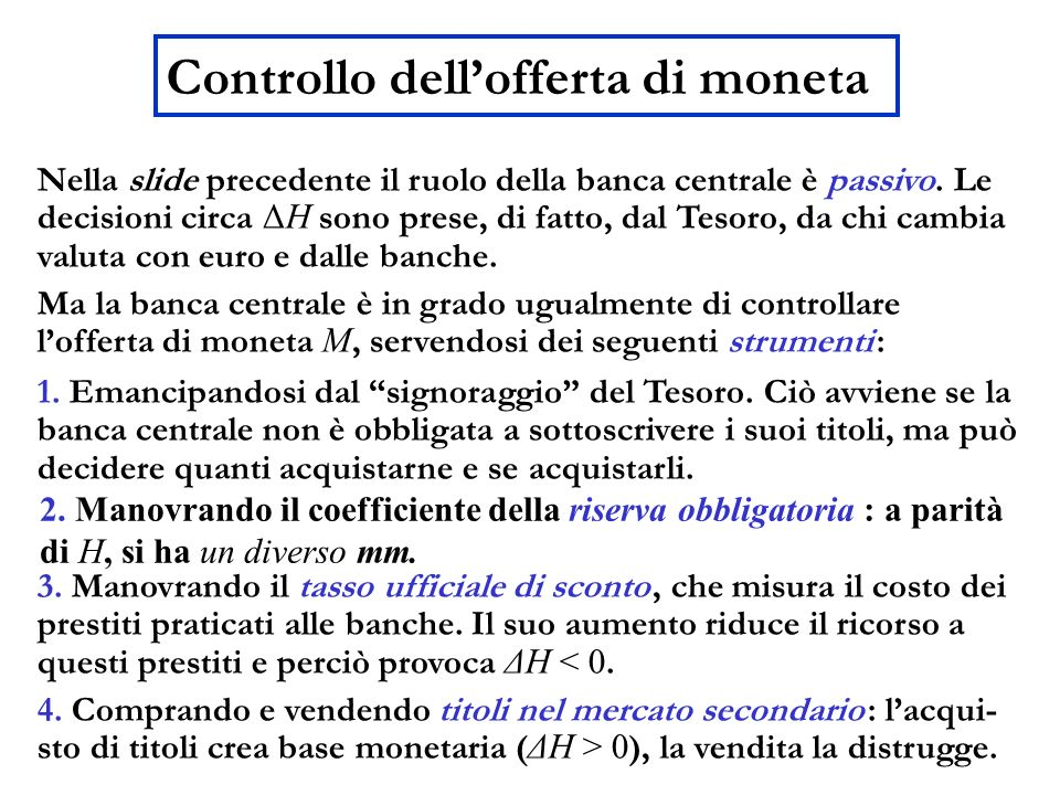 Controllo dell'offerta di moneta