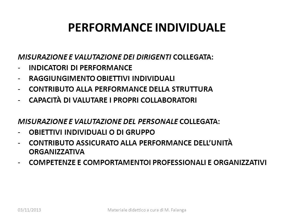 PERFORMANCE INDIVIDUALE