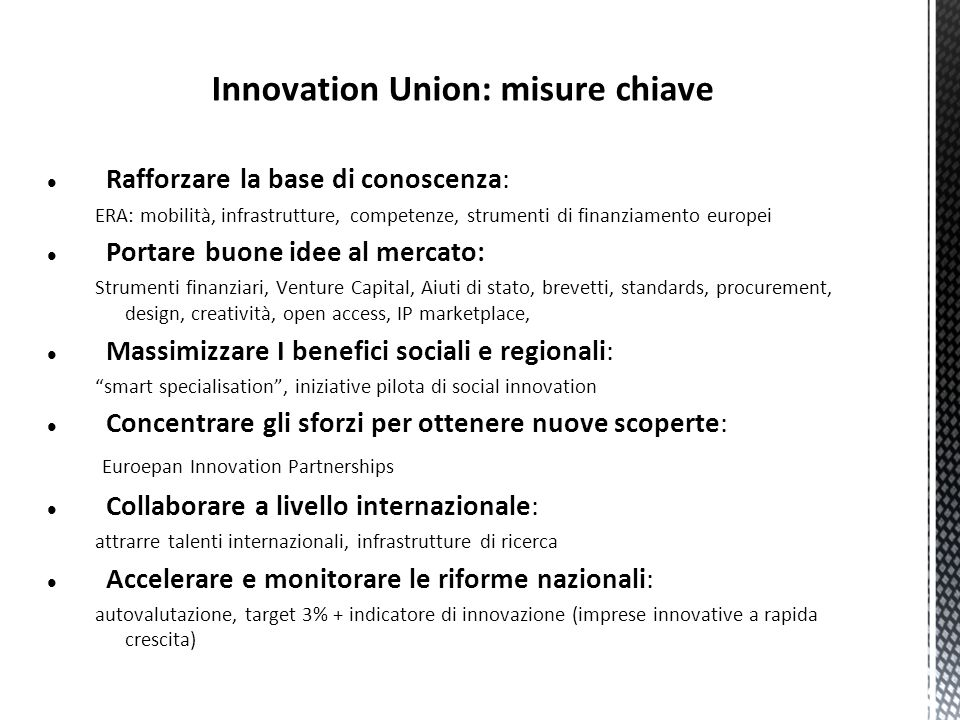 Innovation Union: misure chiave