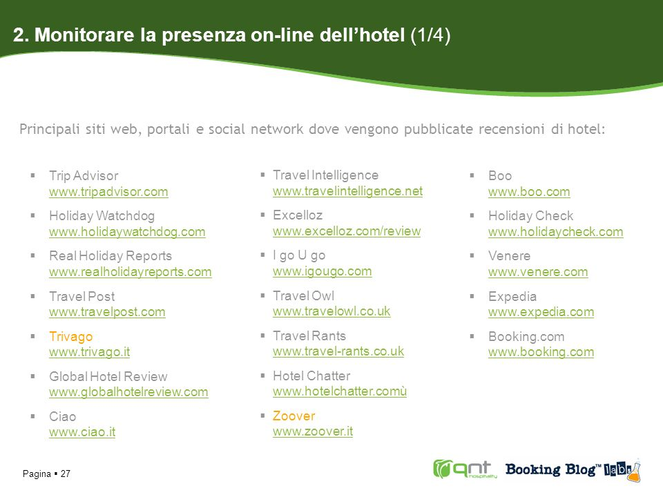 2. Monitorare la presenza on-line dell'hotel (1/4)