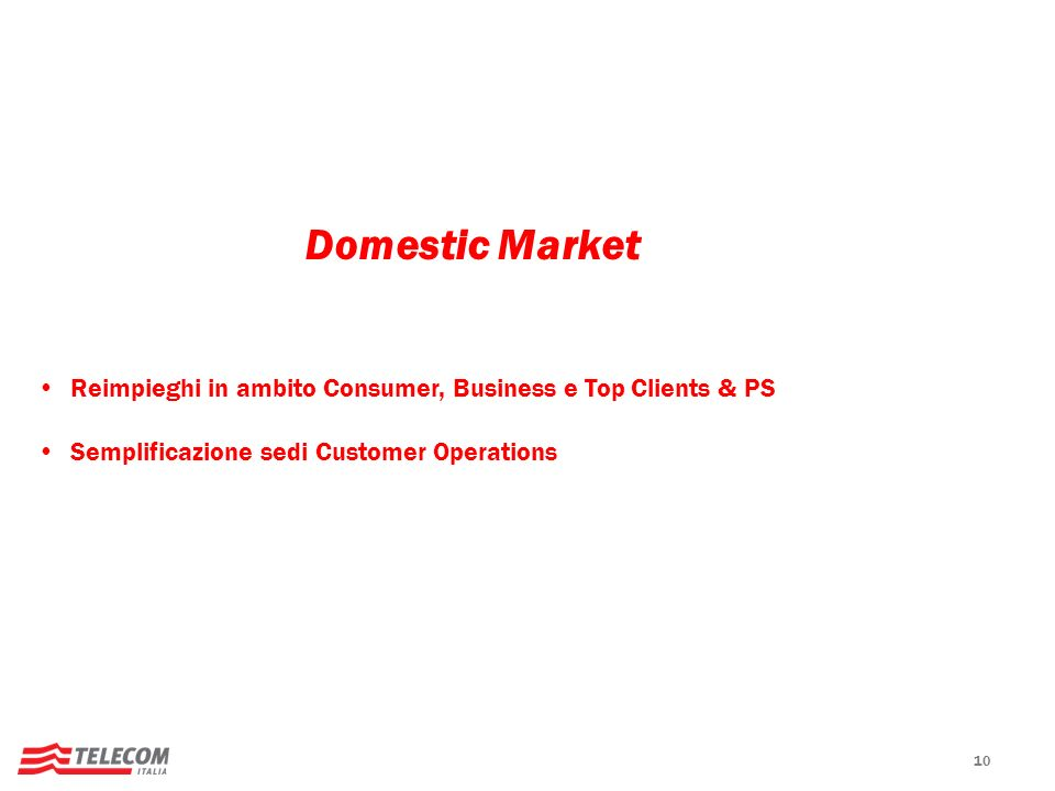 Domestic Market Reimpieghi in ambito Consumer, Business e Top Clients & PS. Semplificazione sedi Customer Operations.