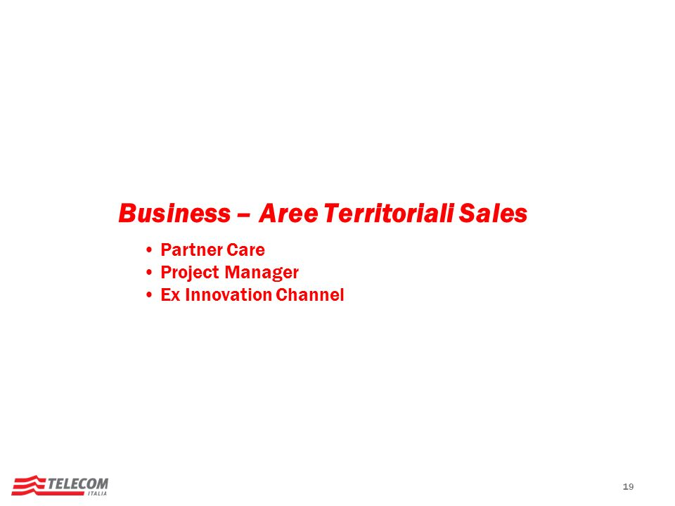 Business – Aree Territoriali Sales