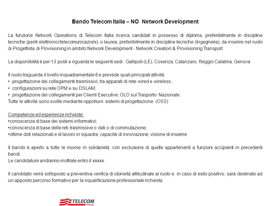 Bando Telecom Italia – NO Network Development