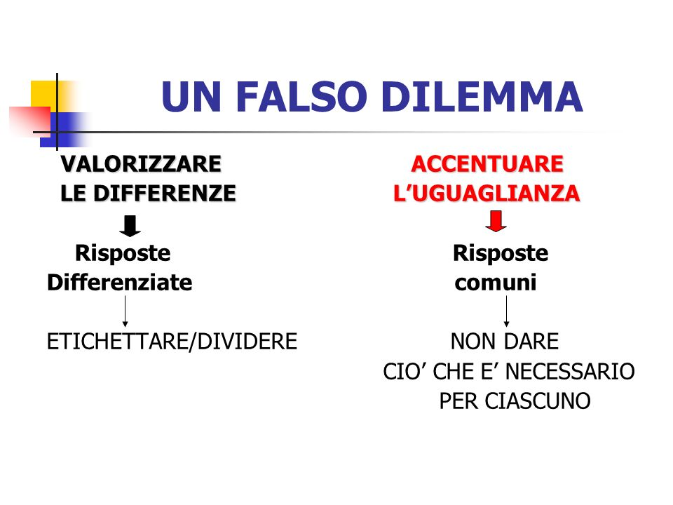 UN FALSO DILEMMA VALORIZZARE ACCENTUARE LE DIFFERENZE L'UGUAGLIANZA