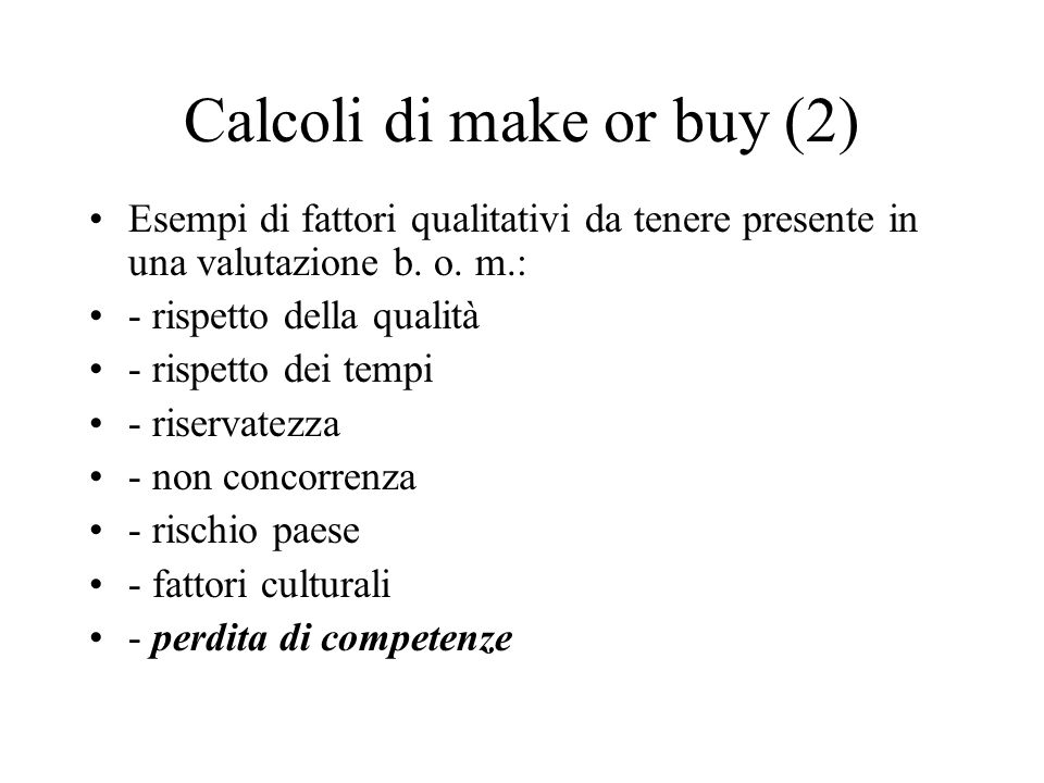 Calcoli di make or buy (2)