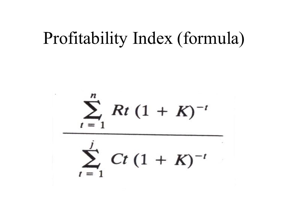 Profitability Index (formula)