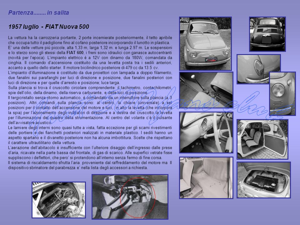 Fiat 500 fans club Partenza in salita