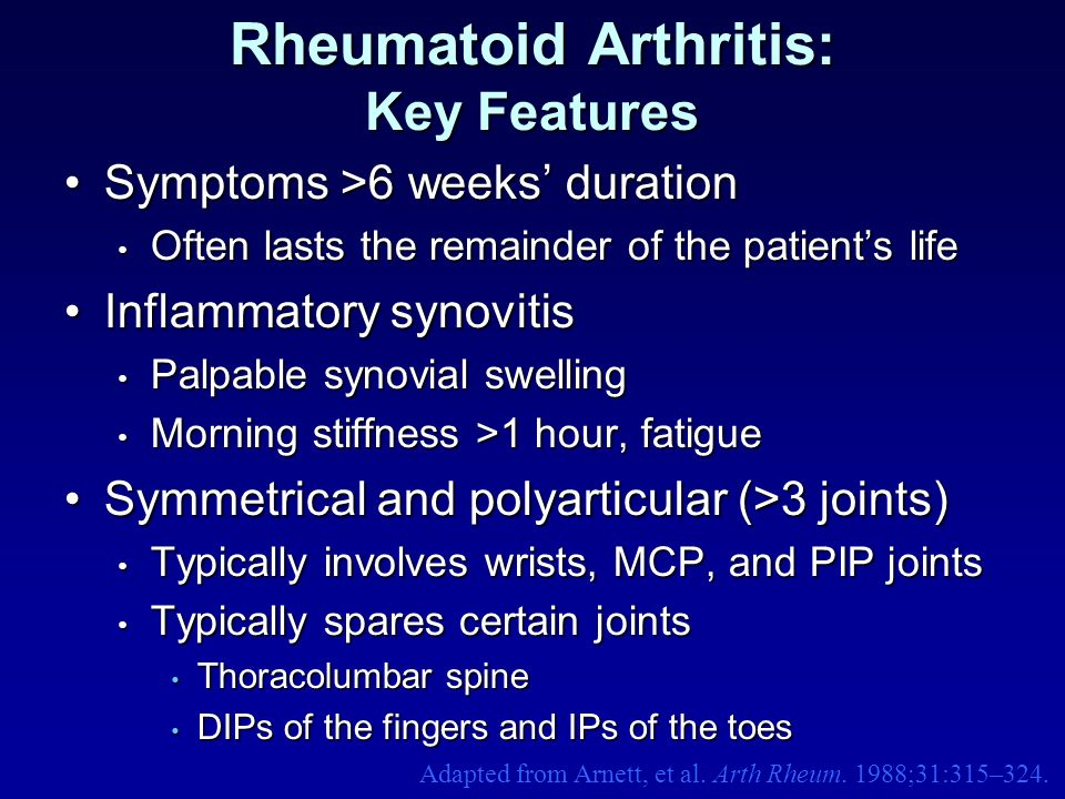 Rheumatoid Arthritis: Key Features