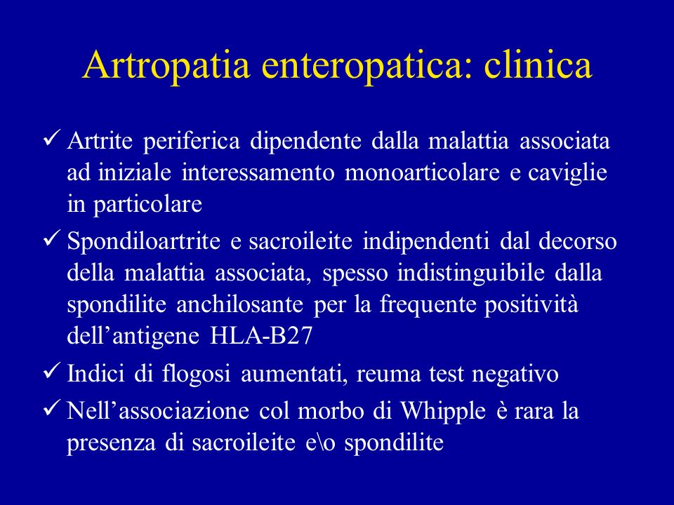 Artropatia enteropatica: clinica