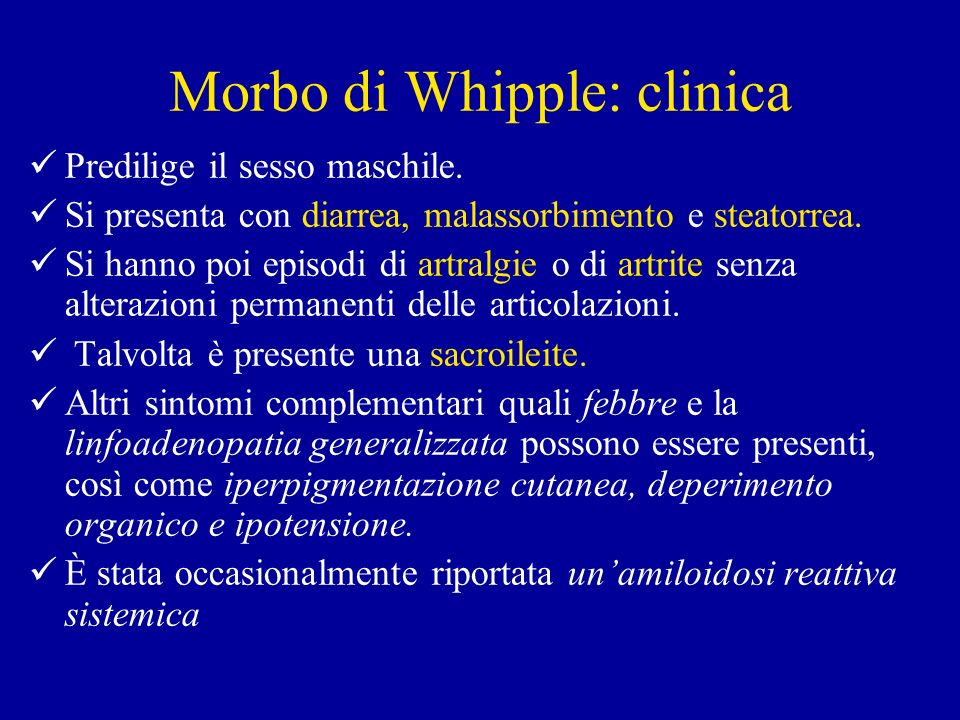 Morbo di Whipple: clinica