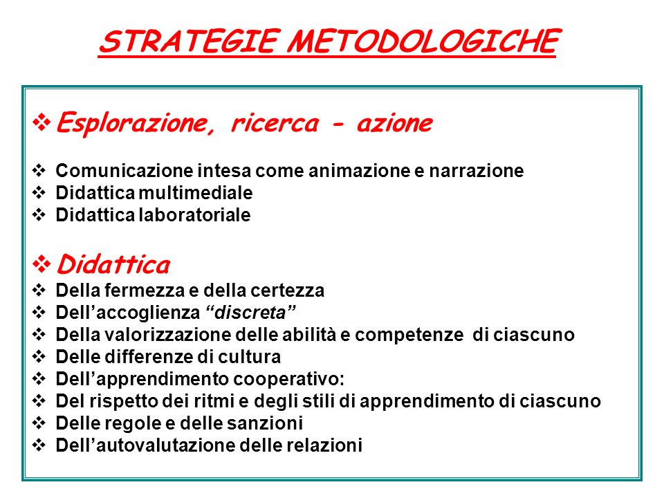 STRATEGIE METODOLOGICHE