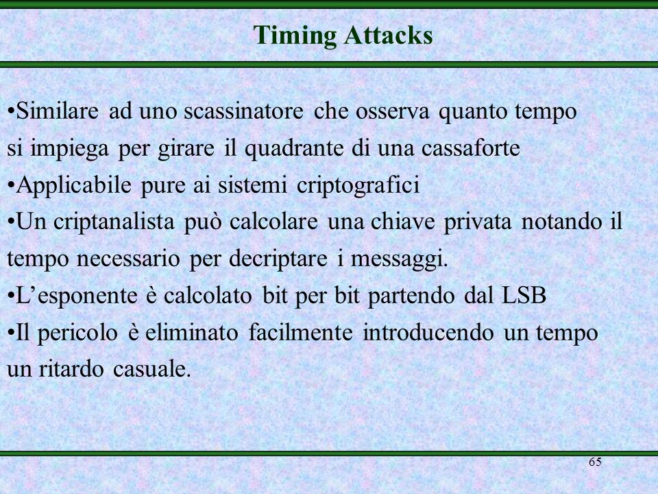 Timing Attacks Similare ad uno scassinatore che osserva quanto tempo