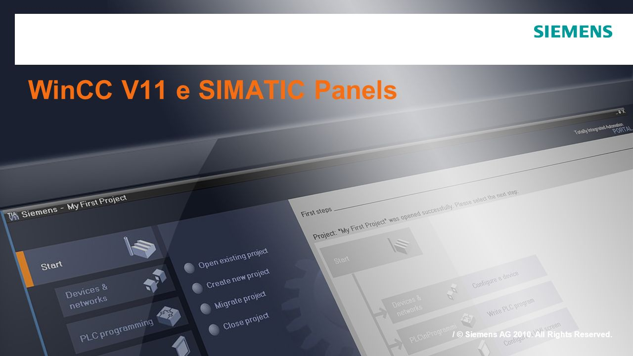 WinCC V11 e SIMATIC Panels