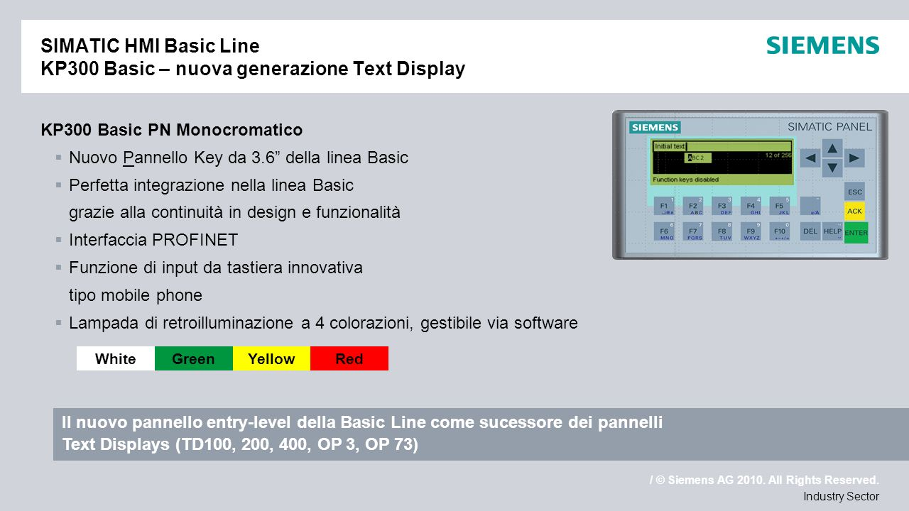 SIMATIC HMI Basic Line KP300 Basic – nuova generazione Text Display