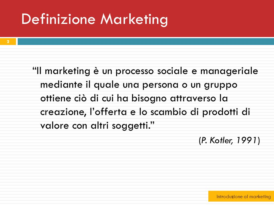 Definizione Marketing