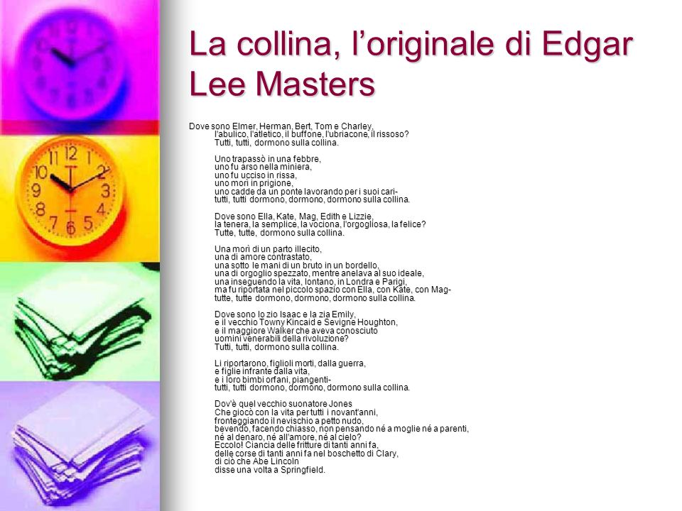 La collina, l'originale di Edgar Lee Masters