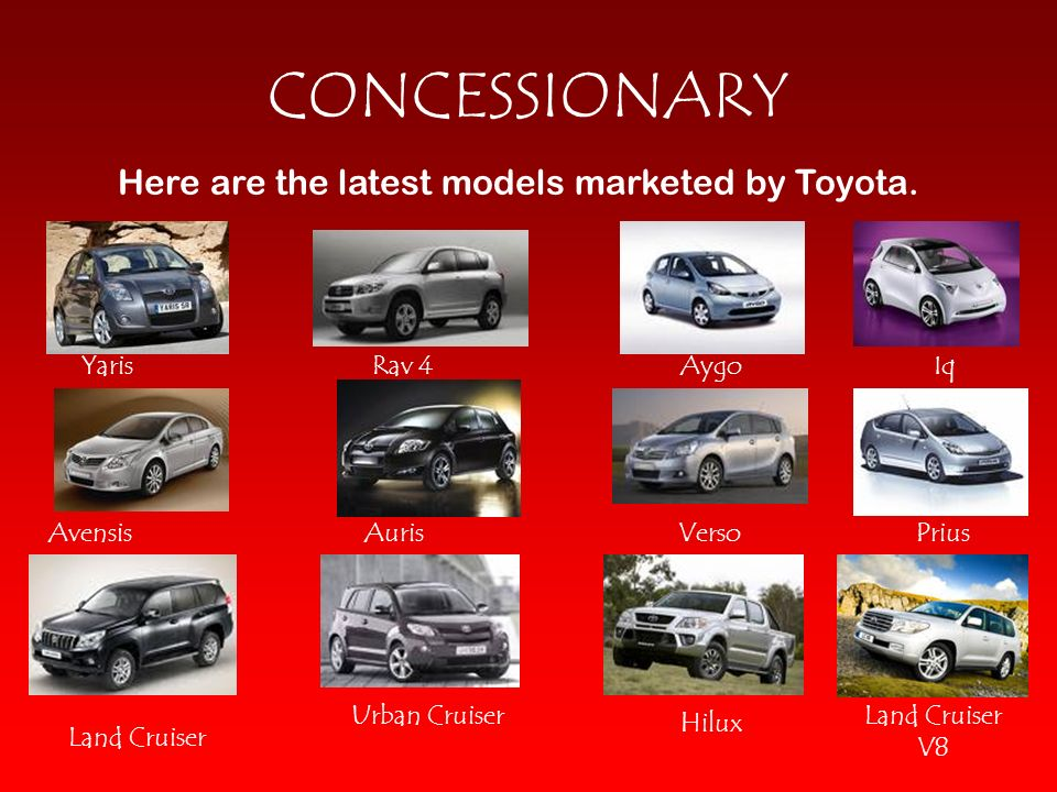Here are the latest models marketed by Toyota.