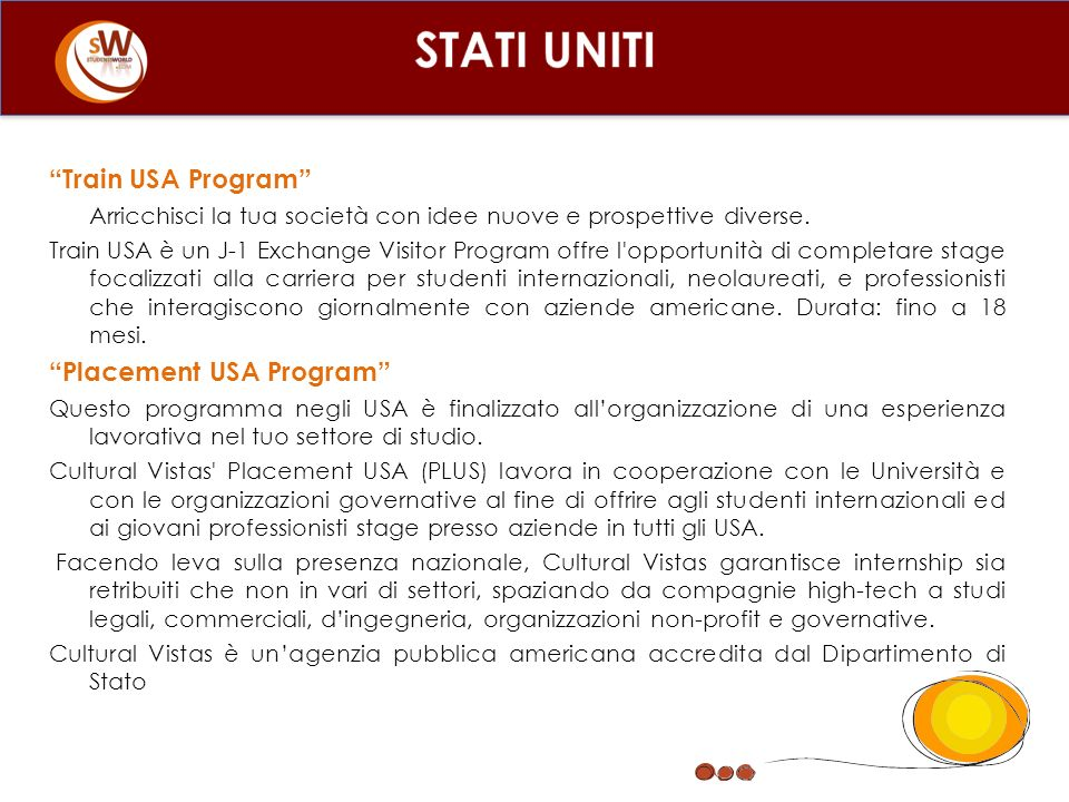 STATI UNITI Train USA Program Placement USA Program