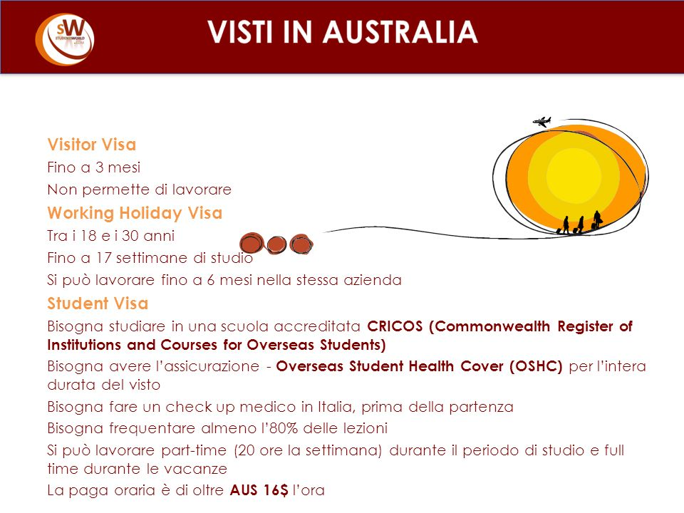 VISTI IN AUSTRALIA Visitor Visa Working Holiday Visa Student Visa