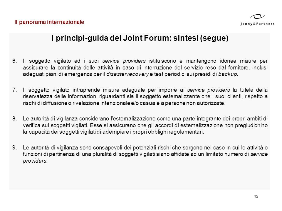 I principi-guida del Joint Forum: sintesi (segue)